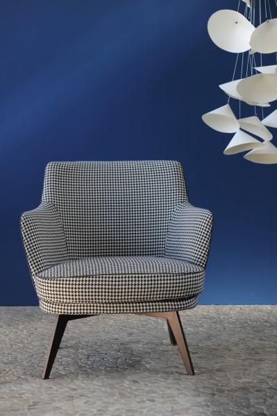 Lounge Stuhl 'Hahnentritt', schwarz, weiß, T 77 cm, B 75 cm, H 81 cm