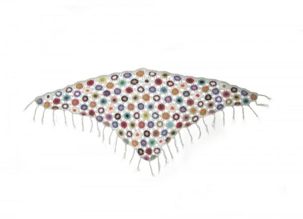 Dreieckiges Häkeltuch, grau/multicolor, L 165 cm, B 85 cm