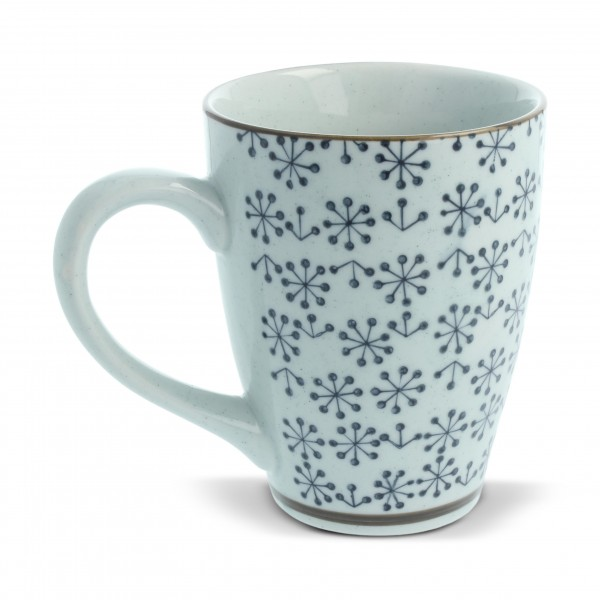 Tasse Gordes 'Breakfast', beige/blau, H 12 cm, Ø 9,5 cm