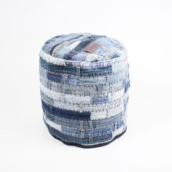 "Sitzpouf ""Patchwork Denim"", blau, Ø 40 cm, H 40 cm"