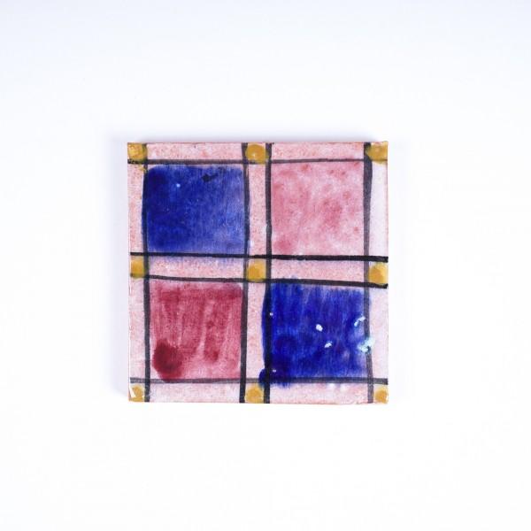 """Fliese """"fenetre rouge"""", blau/rot, L 10 cm, B 10 cm, H 1cm"""