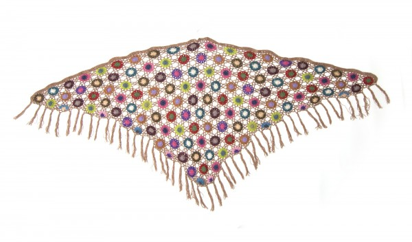 Dreieckiges Häkeltuch, altrosa/multicolor, L 165 cm, B 85 cm