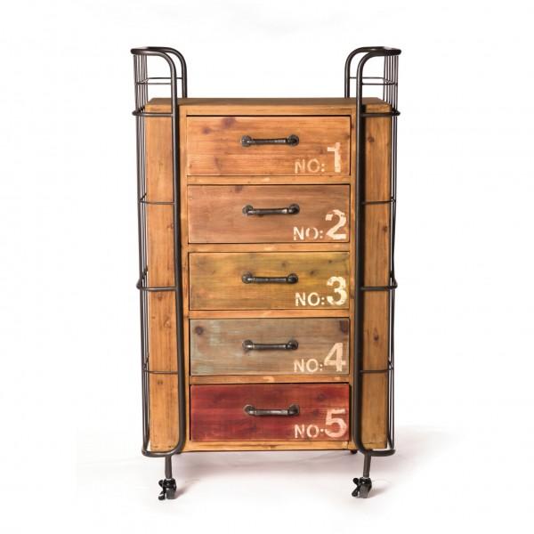 Kommode 'Caines', mit 5 Schubladen, braun, L 45 cm, B 72 cm, H 123 cm