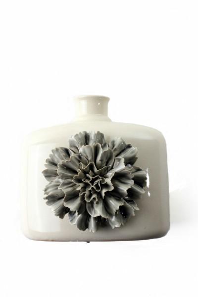 Keramikvase 'Dianthus Quadra', creme, grau, T 23 cm, B 15 cm, H 21,5 cm