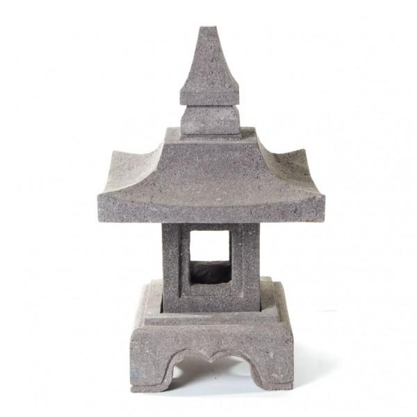 Tempelleuchte aus Lavastein, H 46 cm