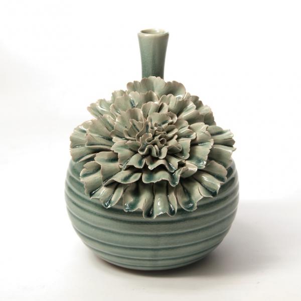 """Vase """"Dianthus quadra"""", türkis, H 25 cm, Ø 20 cm"""