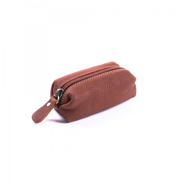 Geldbörse aus 100% Kuhleder, hellbraun, L 5 cm, B 10 cm, H 5 cm