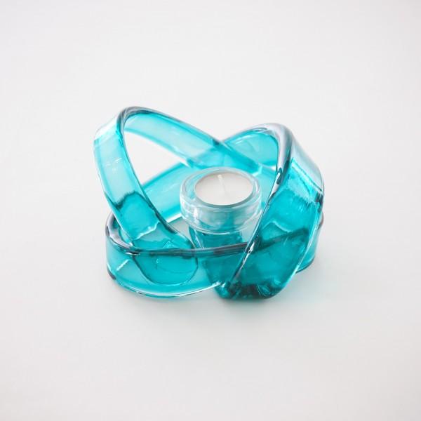 Teelichthalter aus Glas, türkis, Ø 16 cm, H 12 cm