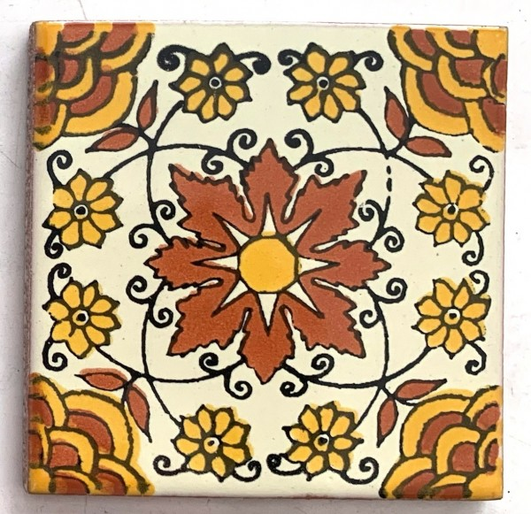 Kachel 'Carmen', gelb, orange, T 10 cm, B 10 cm, H 0,5 cm