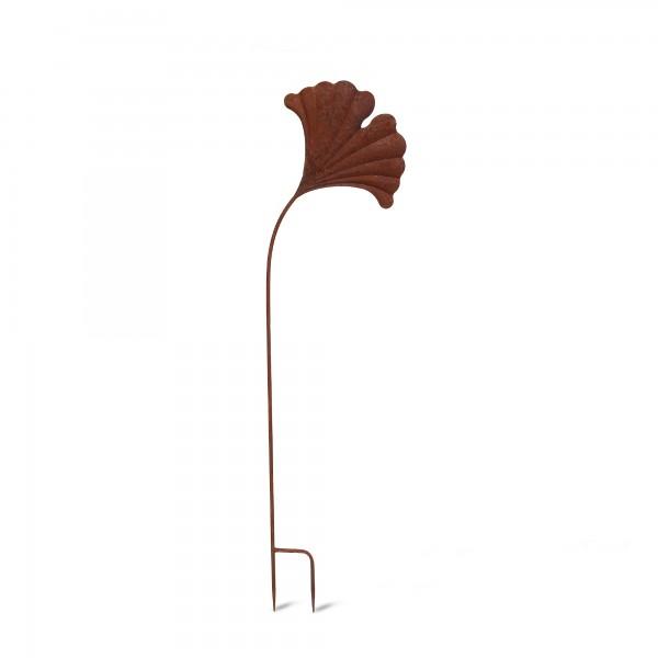Gartenstecker 'Gingko', braun, T 0,5 cm, B 23,5 cm, H 84 cm