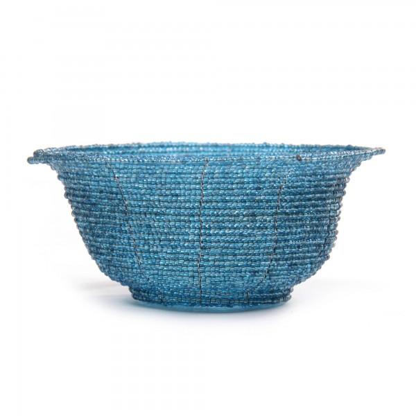 Glasperlenschale, blau, Ø 13 cm, H 6 cm