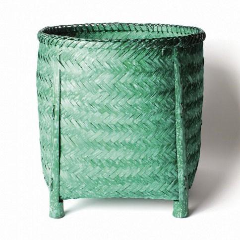 Wäschekorb aus Bambus L, grün, Ø 33 cm, H 35 cm