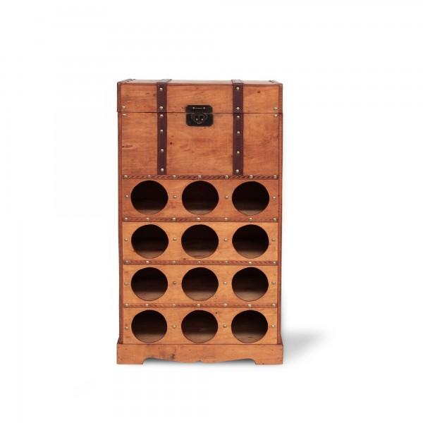 Flaschentruhe 12er, braun, T 40 cm, B 30 cm, H 75 cm