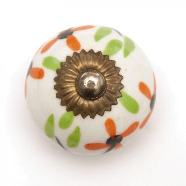 Türknauf rund, weiß/grün/orange, Ø 3,5 cm