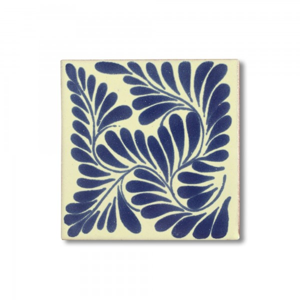 Kachel 'Hoja', blau, weiß, T 10 cm, B 10 cm, H 0,5 cm