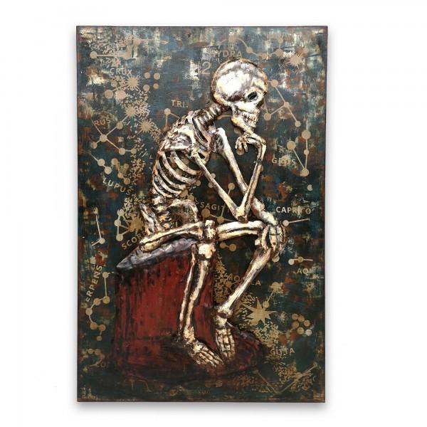 Wandbild 'Skeleton', schwarz, blau, weiß, T 7 cm, B 80 cm, H 120 cm