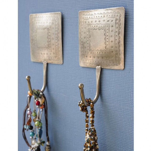 Wandhaken eckig, silber, L 10 cm, B 10 cm, H 17 cm