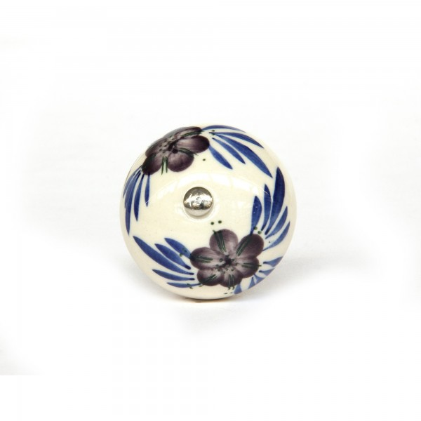 Keramik-Knauf , weiß, lila, blau, T 4 cm, B 4 cm, H 3,5 cm