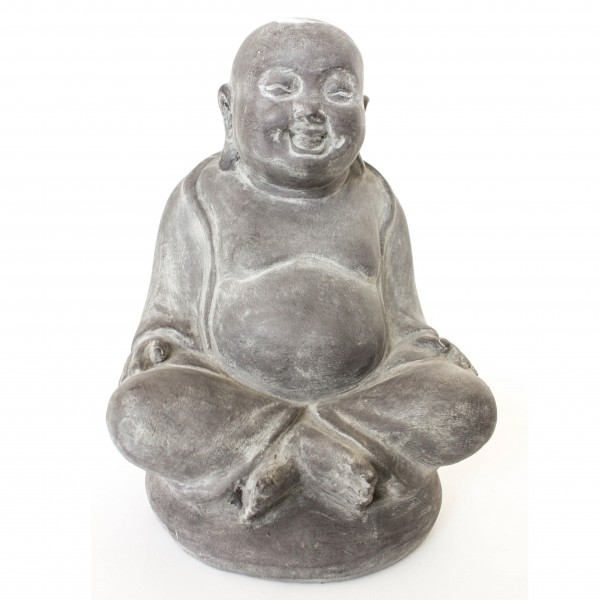 sitzender Buddha aus Ton, grau, L 19 cm, B 22,5 cm, H 32 cm