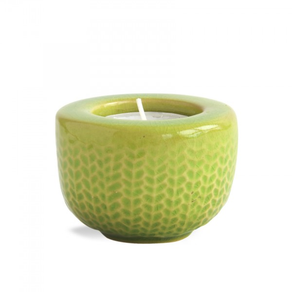 Teelichthalter 'Fischgrät', grasgrün, Ø 7 cm, H 5 cm