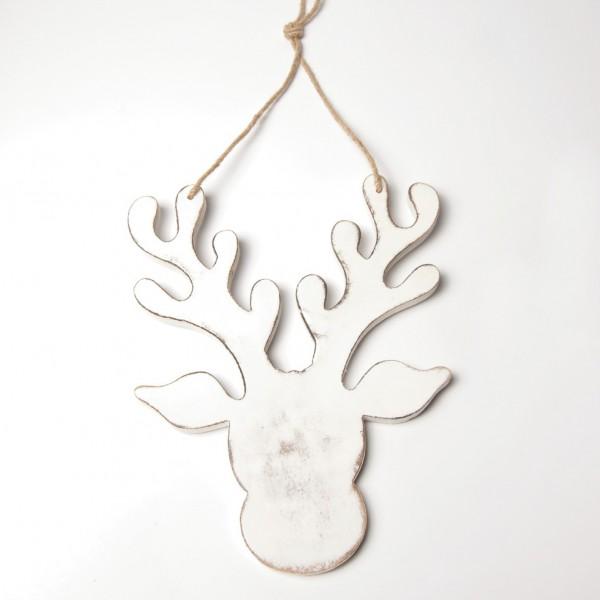 Rentierkopf aus Holz, weiß, B 24 cm, H 30 cm