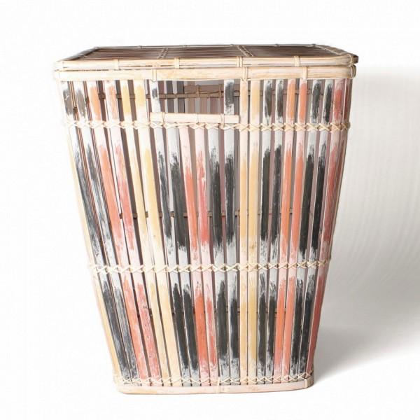 Wäschekorb aus Bambus mit Deckel L, natur/schwarz/rot, L 41 cm, B 41 cm, H 49 cm