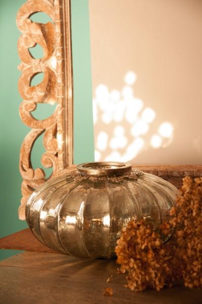 Windlicht 'Pumpkin' L, silber, Ø 29 cm, H 16 cm