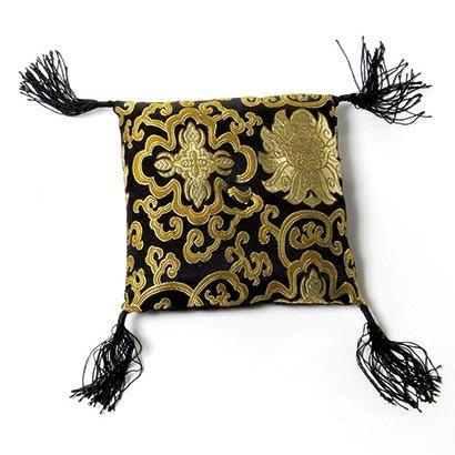 Klangschalenkissen, schwarz/gold, L 15 cm, B 15 cm, H 4,5 cm