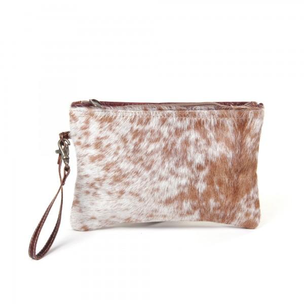 """Kulturtasche """"Gepard"""", weiß/braun, aus Leder, B 25 cm, H 16 cm"""