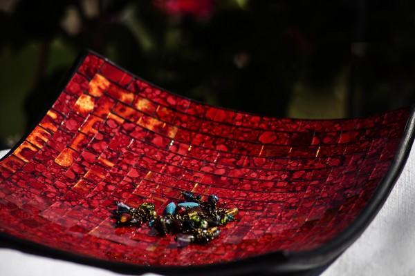 Mosaikteller 'Cherry' L, rot, L 30 cm, B 30 cm, H 8 cm