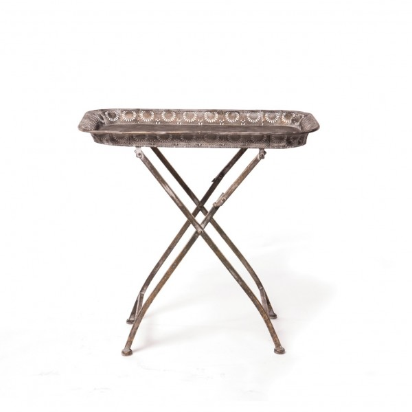 Metalltablett auf Ständer, grau, L 45 cm, B 68 cm, H 66 cm