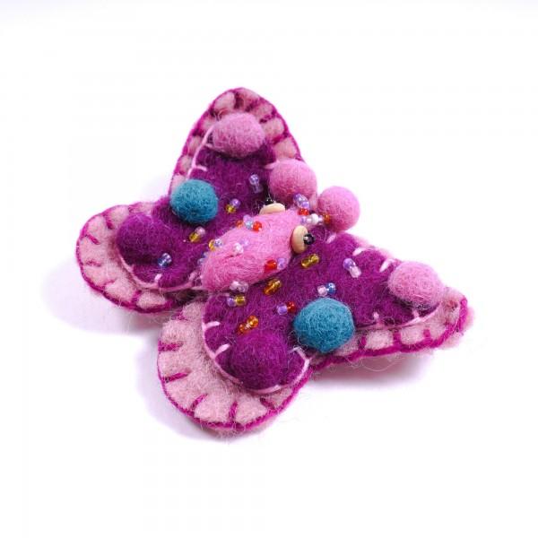 "Brosche ""Schmetterling"", aus Filz, rosa/lila"