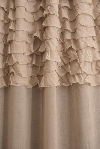 Baumwoll-Vorhang, mit Band, nude, B 110 cm, H 240 cm