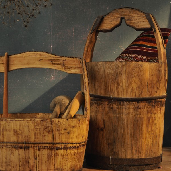 Lasteneimer, aus Holz, H 56 cm, Ø 34 cm