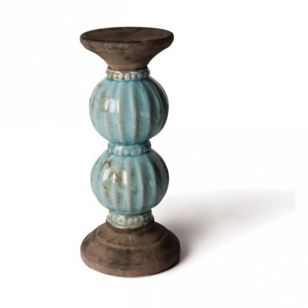 """Keramiksäule """"Bowl groß"""", türkis, Ø 15 cm, H 31 cm"""