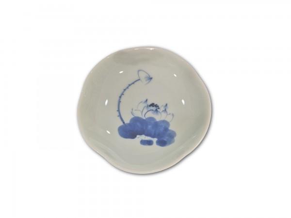 Keramikschale, weiß, blau, Ø 15 cm, H 3 cm