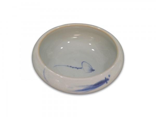 Keramikschale, weiß, blau, Ø 12 cm, H 5 cm