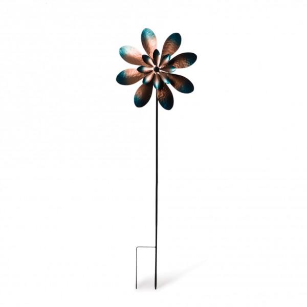 "Windrad ""Spoon"", kupfer/türkis, Ø 38 cm, H 122 cm"