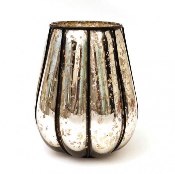 """Windlicht """"Citrouille"""" mit Metallrahmen L, silber, Ø 20 cm, H 23 cm"""