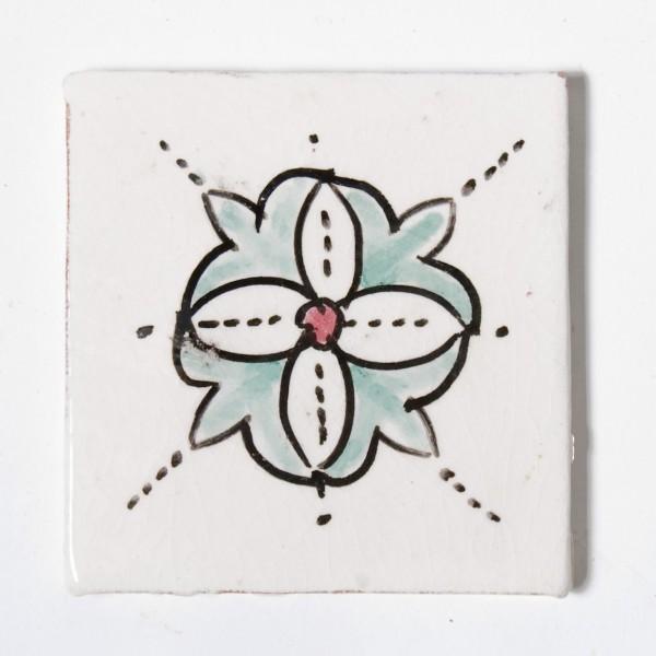 "Fliese ""fleur blanche"", weiß, L 10 cm, B 10 cm, H 1 cm"