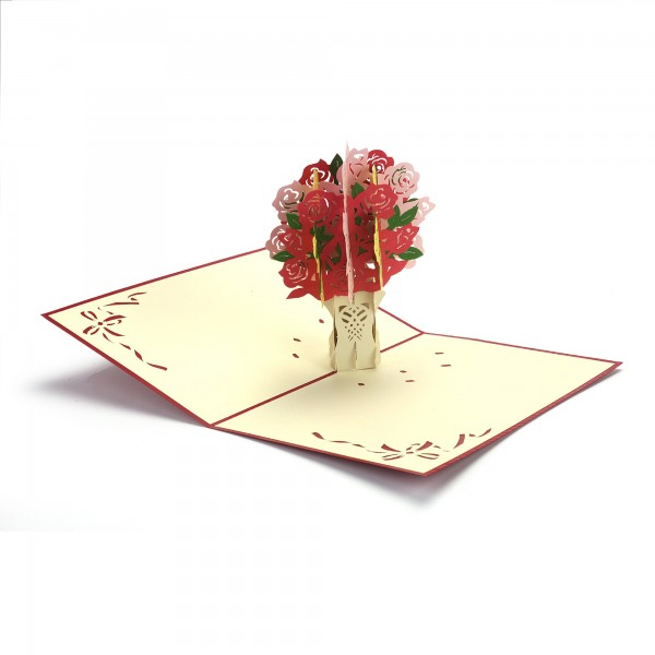 Pop Up Karte 'Rosenstrauß', bunt, T 18 cm, B 13 cm