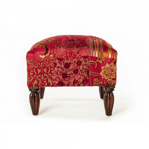 "Hocker ""Patch red"", rot, L 50 cm, B 50 cm, H 35 cm"