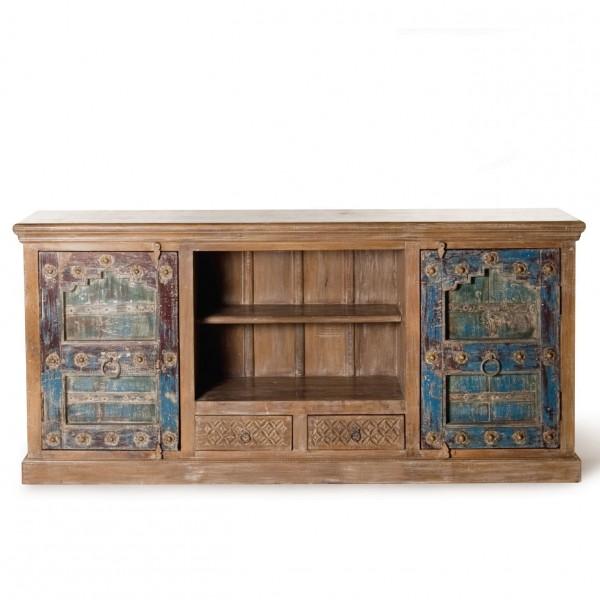 Sideboard, braun/blau, L 45 cm, B 198 cm, H 90 cm