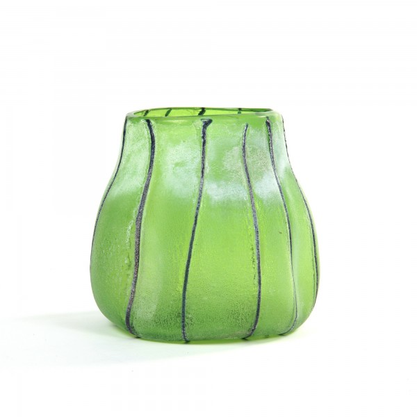Glasvase 'Delia', grün, Ø 20 cm, H 20 cm