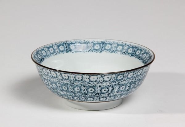 Suppenschale Blumenmuster, blau, Ø 15 cm, H 6 cm