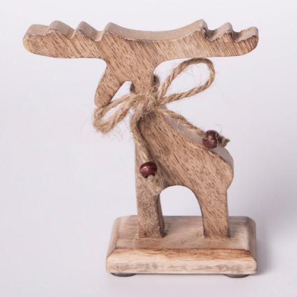 Elch aus Holz S, braun, B 12 cm, H 12 cm