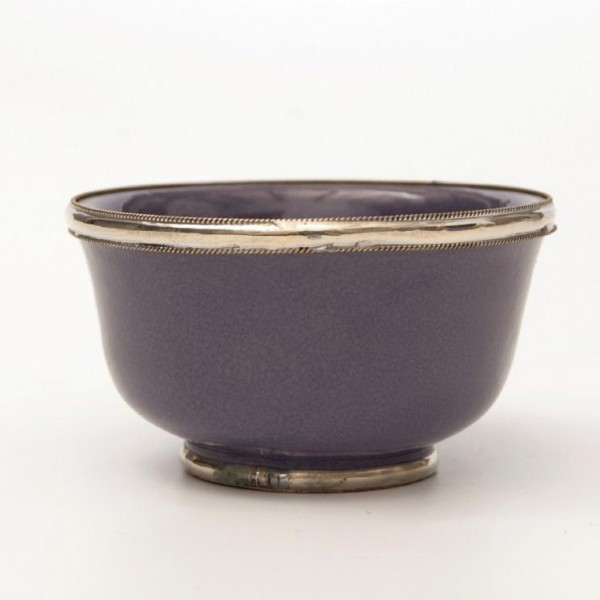 Keramikschale mit Metallverzierung, lila, H 4,5 cm, Ø 9,5 cm