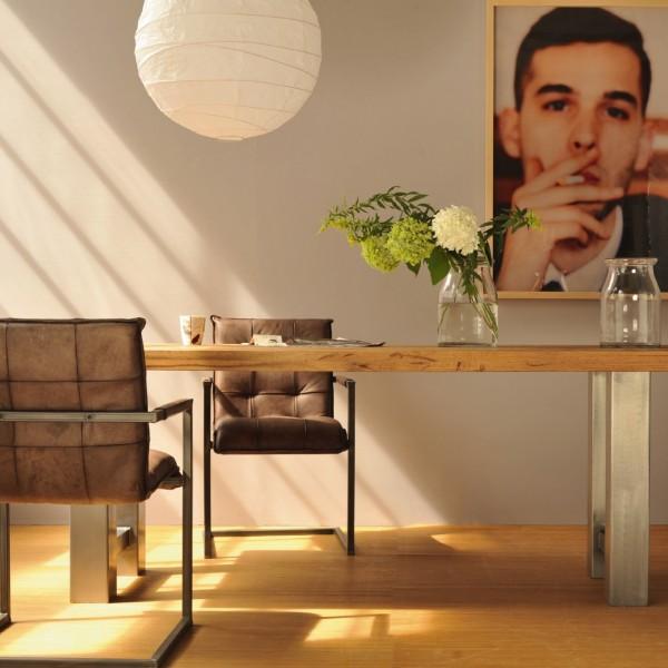 Tisch 'Römö', natur, grau, L 200 cm, B 100 cm, H 78 cm