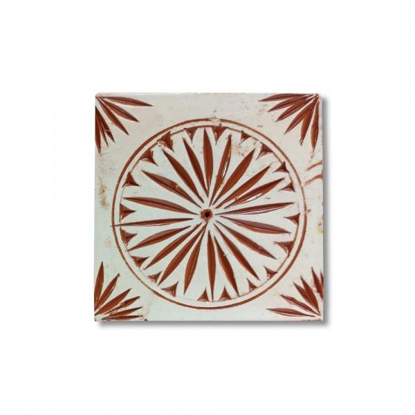 Kachel 'cercle', weiß, braun, T 10 cm, B 10 cm