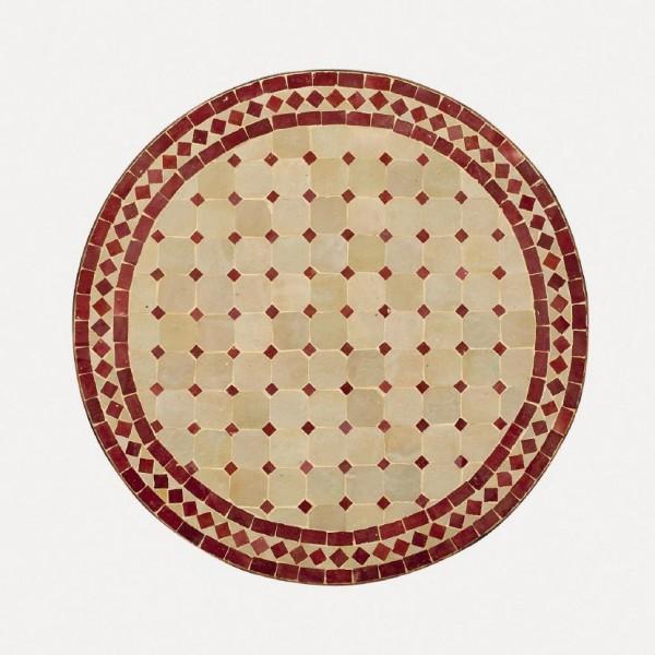 runder Tische, beige/rot, H 75 cm, Ø 120 cm